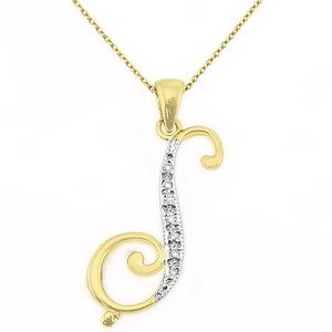 0.04ct. Diamond 14K Solid Gold Initial Necklace