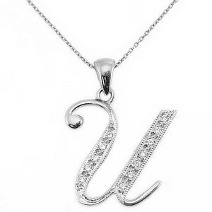 0.06ct. Diamond 14K Solid Gold Initial Necklace