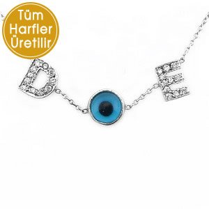 0.06ct. Diamond 14K Solid Gold Initial Evil Eye Double Letter Necklace