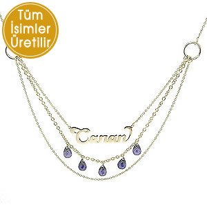 14K Solid Gold Name Amethyst Necklace