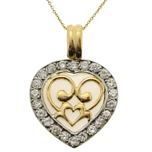 14K Solid Gold Heart Cubic Zirconia Necklace