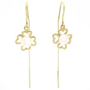 14K Solid Gold Flower Pearl Earring