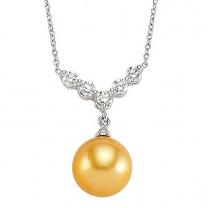 0.4ct. Diamond 18K Solid Gold Pearl Necklace