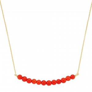 14K Solid Gold Coral Necklace