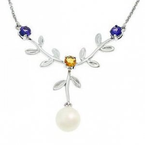 14K Solid Gold Flower Pearl Necklace