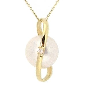 0.02ct. Diamond 14K Solid Gold Pearl Necklace