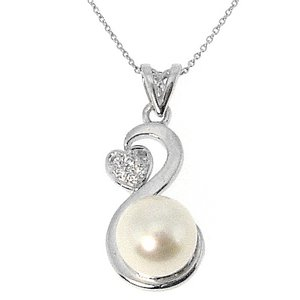 0.04ct. Diamond 14K Solid Gold Heart Pearl Necklace
