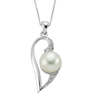 0.05ct. Diamond 14K Solid Gold Heart Pearl Necklace