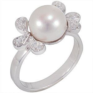 14K Solid Gold Pearl Ring