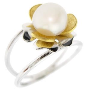 14K Solid Gold Flower Pearl Ring