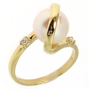 0.05ct. Diamond 14K Solid Gold Pearl Ring