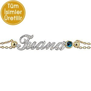 0.18ct. Diamond 14K Solid Gold Name Evil Eye Bracelet