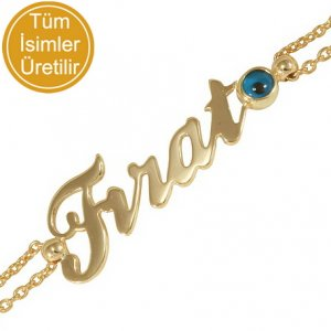 14K Solid Gold Name Evil Eye Bracelet