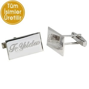 0.02ct. Diamond 925K Silver Initial Name Cufflink