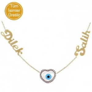14K Solid Gold Name Heart Evil Eye Cubic Zirconia Necklace