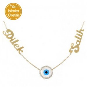 14K Solid Gold Name Evil Eye Cubic Zirconia Necklace