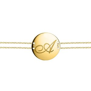 14K Solid Gold Initial Locket Medallion Bracelet