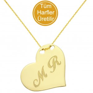 14K Solid Gold Initial Heart Double Letter Necklace