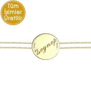 14K Solid Gold Name Locket Medallion Bracelet