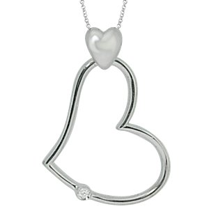 0.03ct. Diamond 925K Silver Heart Necklace