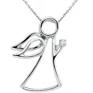 0.01ct. Diamond 925K Silver Modern Design Angel Necklace