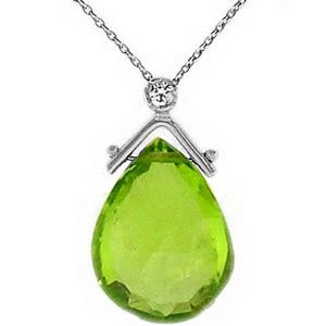 0.02ct. Diamond 925K Silver Modern Design Peridot Necklace