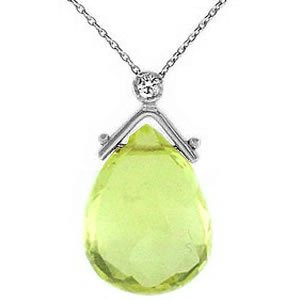 0.02ct. Diamond 925K Silver Modern Design Lemon Quartz Necklace