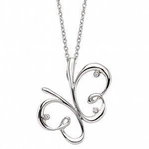 0.01ct. Diamond 925K Silver Necklace