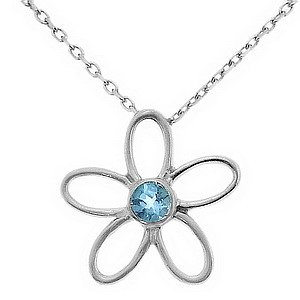 925K Silver Modern Design Flower Blue Topaz Necklace