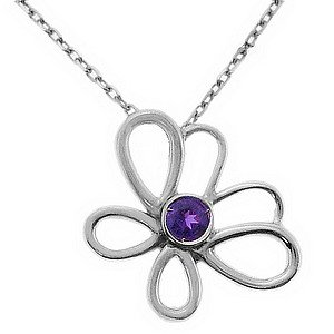 925K Silver Modern Design Butterfly Amethyst Necklace