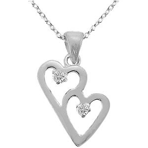 0.02ct. Diamond 925K Silver Heart Necklace