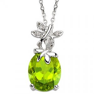 0.02ct. Diamond 925K Silver Modern Design Butterfly Peridot Necklace
