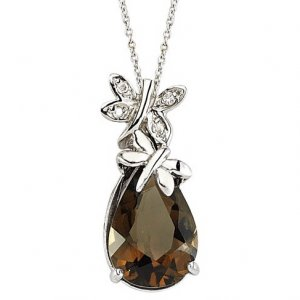 0.02ct. Diamond 925K Silver Modern Design Butterfly Smoky Quartz Necklace