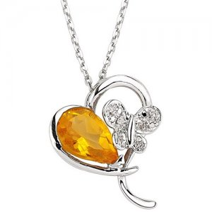 0.03ct. Diamond 925K Silver Heart Butterfly Citrine Necklace
