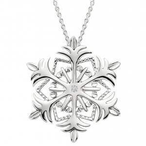 0.01ct. Diamond 925K Silver Snow Flake Necklace