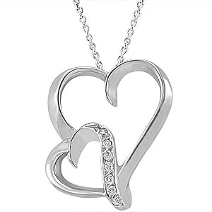 0.04ct. Diamond 925K Silver Heart Necklace