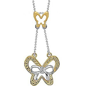 0.01ct. Diamond 925K Silver Butterfly Necklace