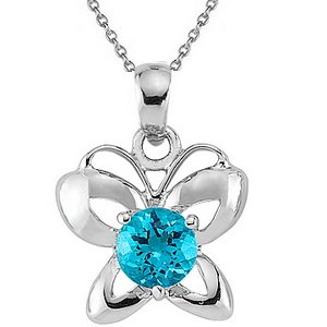 925K Silver Butterfly Blue Topaz Necklace