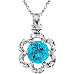 925K Silver Blue Topaz Necklace