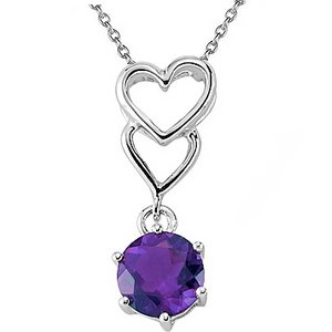 925K Silver Heart Amethyst Necklace