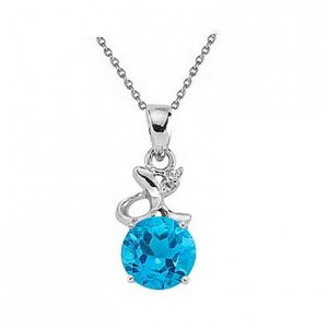 0.02ct. Diamond 925K Silver Blue Topaz Necklace
