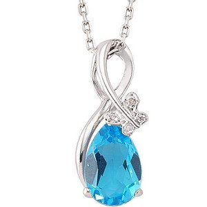 0.02ct. Diamond 925K Silver Modern Design Butterfly Blue Topaz Necklace