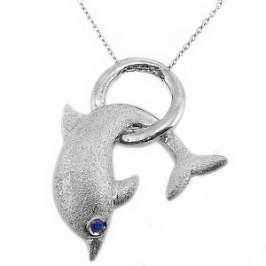 925K Silver Modern Design Fish Dolphin Necklace