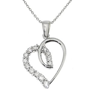 925K Silver Heart Cubic Zirconia Necklace
