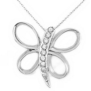 925K Silver Butterfly Cubic Zirconia Necklace