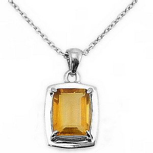 925K Silver Modern Design Citrine Necklace