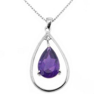925K Silver Modern Design Amethyst Necklace