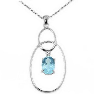 925K Silver Modern Design Blue Topaz Necklace