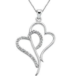 0.12ct. Diamond 925K Silver Heart Necklace