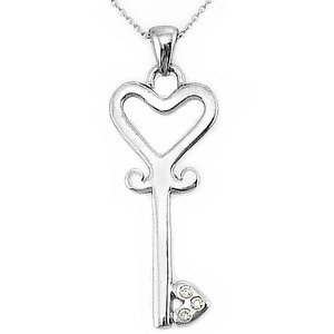 0.02ct. Diamond 925K Silver Key Necklace